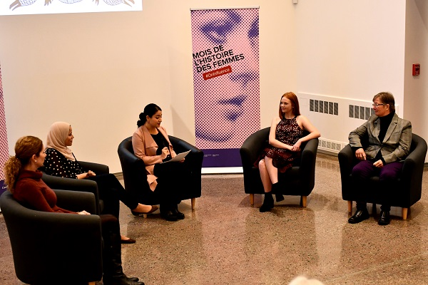 A panel including Minister Monsef, Professor Goodyear-Grant, peace advocate Alaa Murabit, Cuddles for Cancer founder Faith Dickinson, and military trailblazer Louise Fish. (University Communications)